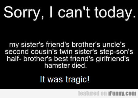 Sorry, I Can't Today - My Sister's Friend's...