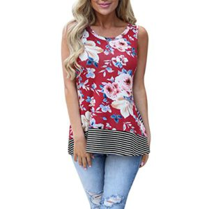 Hot Sale! Women's Tank Top E-Scenery Women Summer Beach Vest Top Sleeveless Blouse Casual Tank Loose Tops T-Shirt (Red, X-Large)