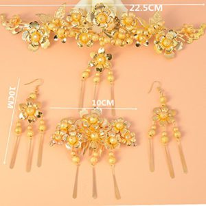 2018 new bride married jewelry golden headdress hair accessories Xiu Chinese retro golden toast clothing accessories for women girl lady
