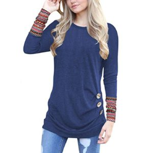 GONKOMA Hot Sale Women Autumn Blouse Long Sleeve Trim T-Shirt Tops Casual Round Neck Patchwork Tunic Blouse (S, Blue)