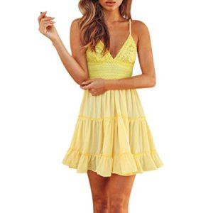 Sumen Women Summer Sundress Lace Deep V Backless Bow Party Beach Mini Dress (S, Yellow)