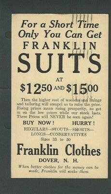 1933 Dover NH Franklin Clothes Sale On Mens Suits $12.50-15.00