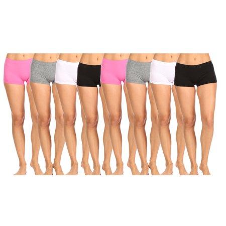 4H5889 Women Underwear Seamlees High-Waisted Boyshort Panties 8 Color Pack
