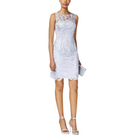 Adrianna Papell Womens Lace Sleeveless Cocktail Dress