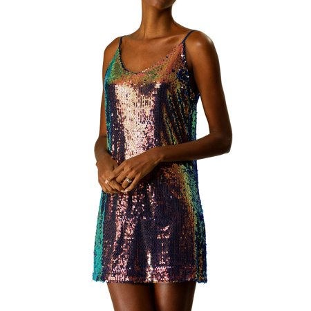 Allegra K Women's Glitter Sequin Strap Mini Dress 18 Multi-color