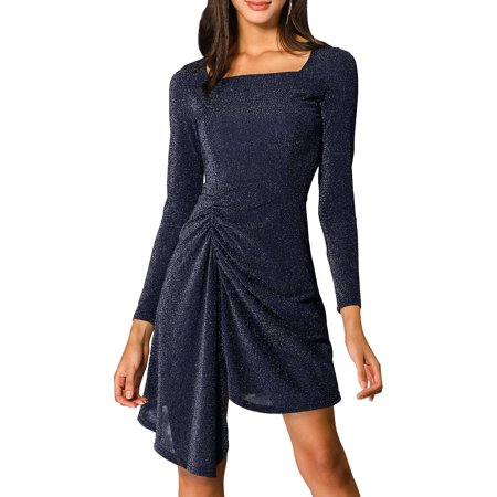 Allegra K Women's Glitter Square Neck Ruched Stretch Dress (Size S/6) Navy Blue