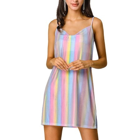 Allegra K Women's Metallic Glitter Spaghetti Strap Mini Dress XS Multicolor