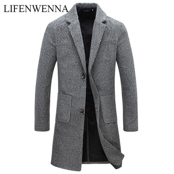 Autumn Winter New Fashion Brand Men's Clothes Trend Jacket Wool Coat Men Slim Fit Peacoat Wool & Blends Winter Long Men Coat 3XL