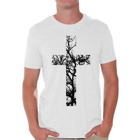 Awkward Styles Black Cross T Shirt for Men Christian Mens Shirts Christian Cross Clothes for Men Jesus Christ is the Lord Christian Cross Birthday Gifts Jesus Shirts Jesus Clothing Cross Mens Shirt