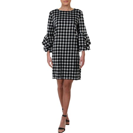 Beach Lunch Lounge Womens Delphina Plaid Shift Casual Dress