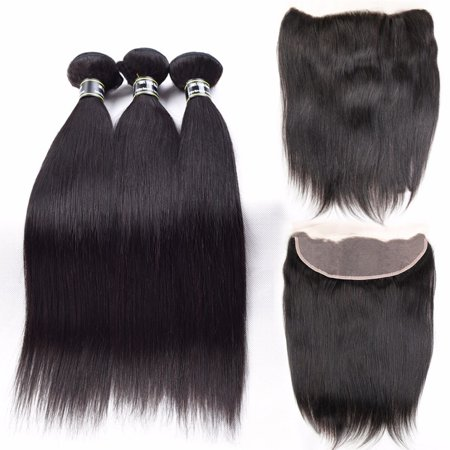 "Beroyal Straight Hair Brazilian Virgin Human Hair 3 Bundles with Frontal Free Part, 16""18""20"" with 16"""