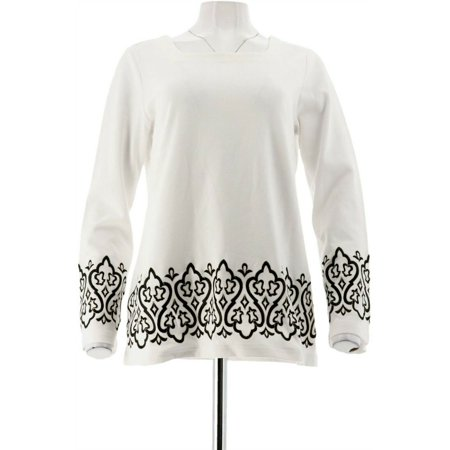 Bob Mackie Square Neck Embroidered Ponte Knit Top A282202