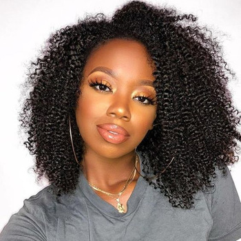 Brazilian Kinky Curly Wig Full Lace Human Hair Wigs With Baby Hair Transparent U-Part Glueless Full Lace Wig For Women Remy