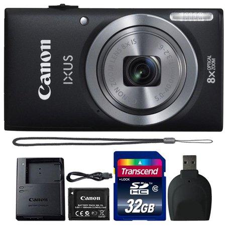Canon Powershot Ixus 185 / ELPH 180 20MP Compact Digital Camera Black with 32GB Accessory Bundle