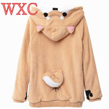 Doge Women Hoodies Ear Hoodie Pouch Women's Clothing Pullover Sweatshirt Vetement Kawaii Japanese Anime Tail WXC