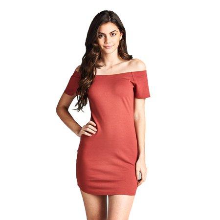 Emmalise Women's Sexy Cut Off Cold shoulder Short Sleeves Bodycon Mini dress Top - Dark Rose, M