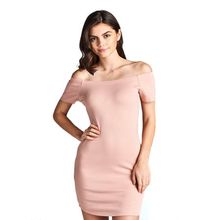 Emmalise Women's Sexy Off Shoulder Bodycon Mini Dress Short Sleeves