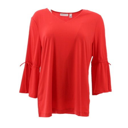 Every Day Susan Graver Liquid Knit Split Bell Slv Top A302623