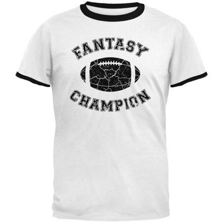 fantasy football distressed champion white/black men's ringer t-shirt