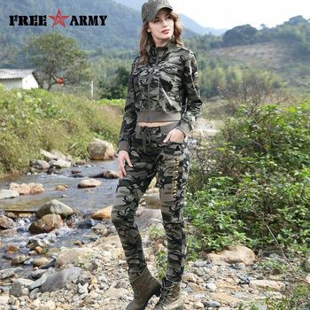 FREEARMY Brand Women's Sets Camouflage 2 Piece Sweat Suit Set Pants+Short Jacket Slim Women's Clothing Female Tracksuit Suit Set