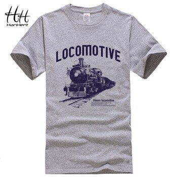 HanHent Locomotive Print T-shirt 2018 Mens Tee Shirts Summer Fashion Rock O-Neck Loose Casual Men's T Shirt Streetwear Clothes