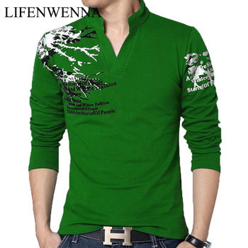 Hot Sale 2019 New Autumn Men's T Shirt Fashion Flower Print V Neck Long Sleeve T Shirt Mens Clothes Trend Casual Top Tee Men 5XL