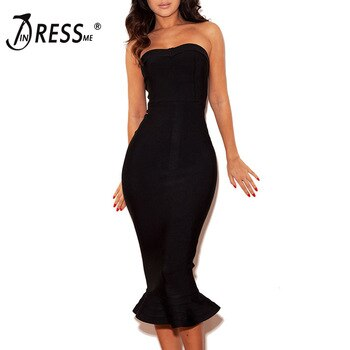INDRESSME 2020 Sexy Women Strapless Sleeveless Backless Elegant Bandage Dress Bodycon Club Party Dress Summer Chic INS Bodycon