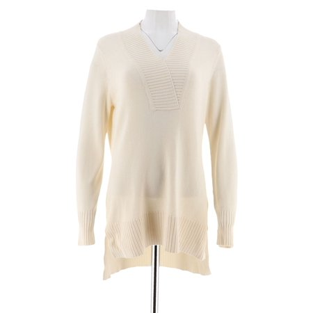 Isaac Mizrahi Crossover V-neck Sweater Tunic A284088