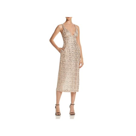 JILL Jill Stuart Womens Metallic Sequined Midi Dress