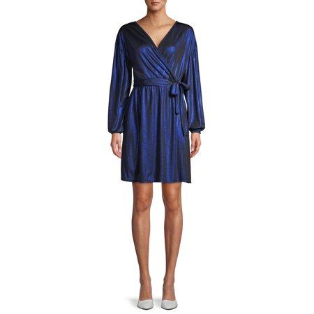 Love Sadie Women's Metallic Wrap Dress