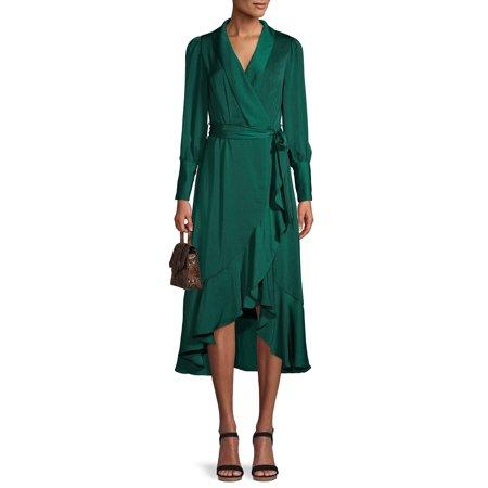Love Sadie Women's Ruffle Trim Wrap Maxi Dress