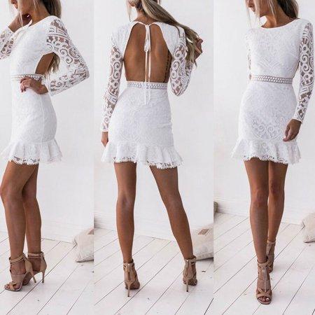 Multitrust Women's Lace Bodycon Long Sleeve Summer Cocktail Evening Party Short Mini Dress