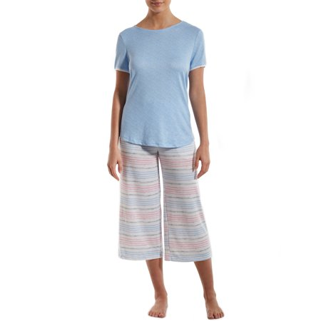 Nuit Rouge Women's High Low Hem T-Shirt and Wide Let Pant Pajama Set