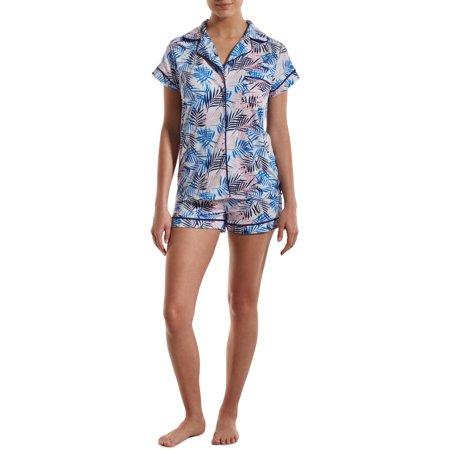 Nuit Rouge Women's Short Sleeve Notch Collar Top and Shorts Pajama Set