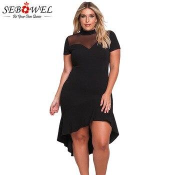 SEBOWEL Sexy Black Mesh Plus Size Dress Women Short Sleeve Mesh Club Party Dress Big Size Ruched Midi Dress XXXL Large Clothing