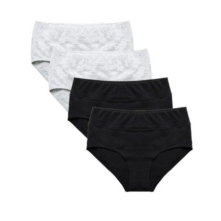 Set of 4 Briefs Ladies Mid Rise Underwear Seamless Hipster Panties, Womens Underwear Soft Stretch Cotton Brief