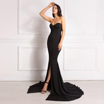 Sexy Strapless Red Maxi Dress Split Front Long Floor Length Trumpet Mermaid Dress Sleeveless Elegant Party Dress