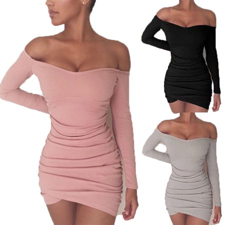 Sexy Women's Off Shoulder Bodycon Long Sleeve Party Cocktail Short Mini Dress