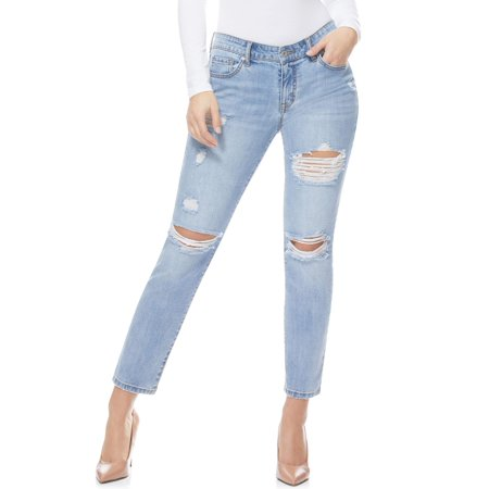 Sofia Jeans by Sofia Vergara Bagi Boyfriend Destructed Mid Rise Jeans with Roll Cuff, Women's