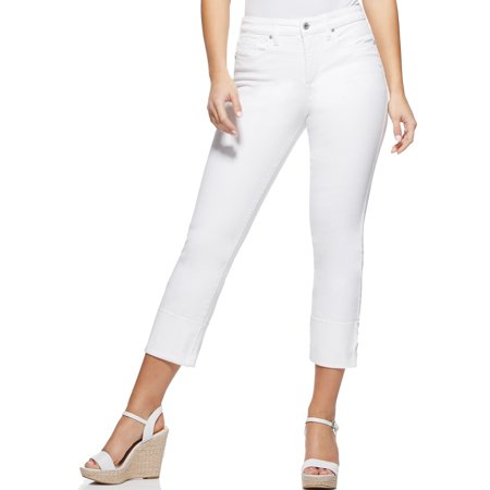 Sofia Jeans by Sofia Vergara White Veronica Destructed Cuffed Straight Leg High Waist Jeans, Women's