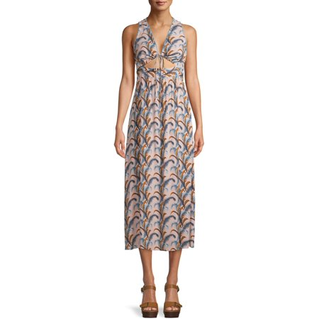 Sui by Anna Sui Falling Feather Print Midi Dress
