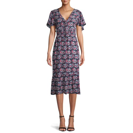 Sui by Anna Sui Women's Floral Flutter Sleeve V-Neck Dress