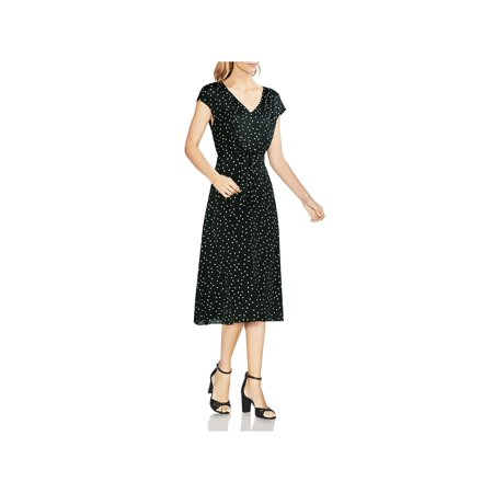 Vince Camuto Womens Polka Dot Tie Waist Wear to Work Dress