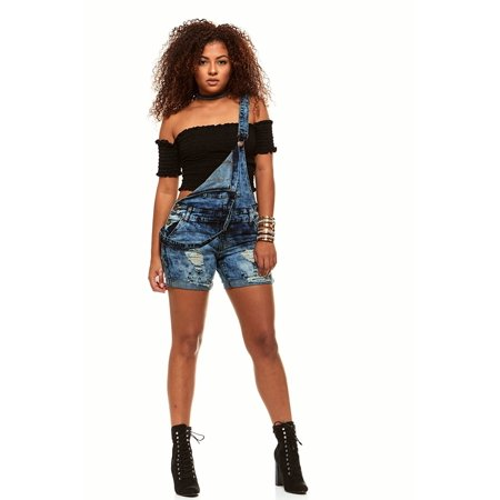V.I.P.JEANS Dark Blue Acid Washed Ripped Distressed Frayed Hem Overall Jeans Shorts For Women