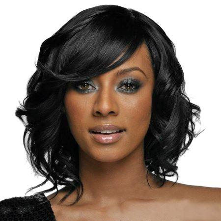 Women Black Brazilian Short Wavy Curly Parting High Temperature Fiber Wig Hair