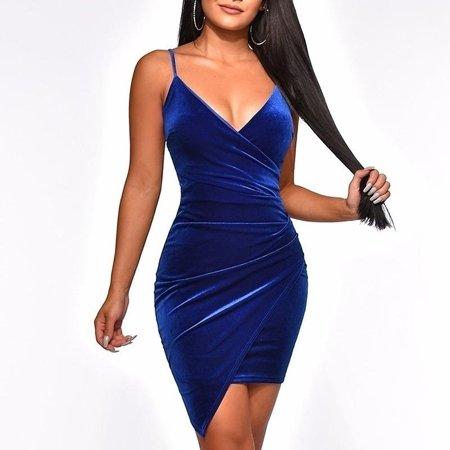 Women Sexy Backless Sling Velvet Mini Dress Deep V-Neck Bodycon Dress