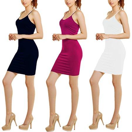 Women's 3-Pack Seamless Spaghetti Strap Bodycon Dress (Black, Red, Navy)