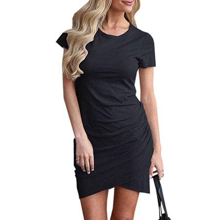 Womens Dresses Summer Casual Ruched Short Sleeve Irregular Bodycon Mini Dress