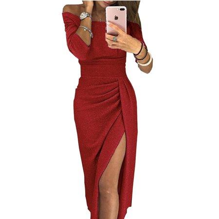 Women's Fashion Off Shoulder Party Dresses High Slit Bodycon Dress Evening Long Sleeve Dress