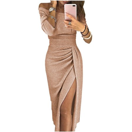 Womens Long Sleeve Solid Color Split Dress One Shoulder Shiny Evening Party Club Bodycon Long Dress
